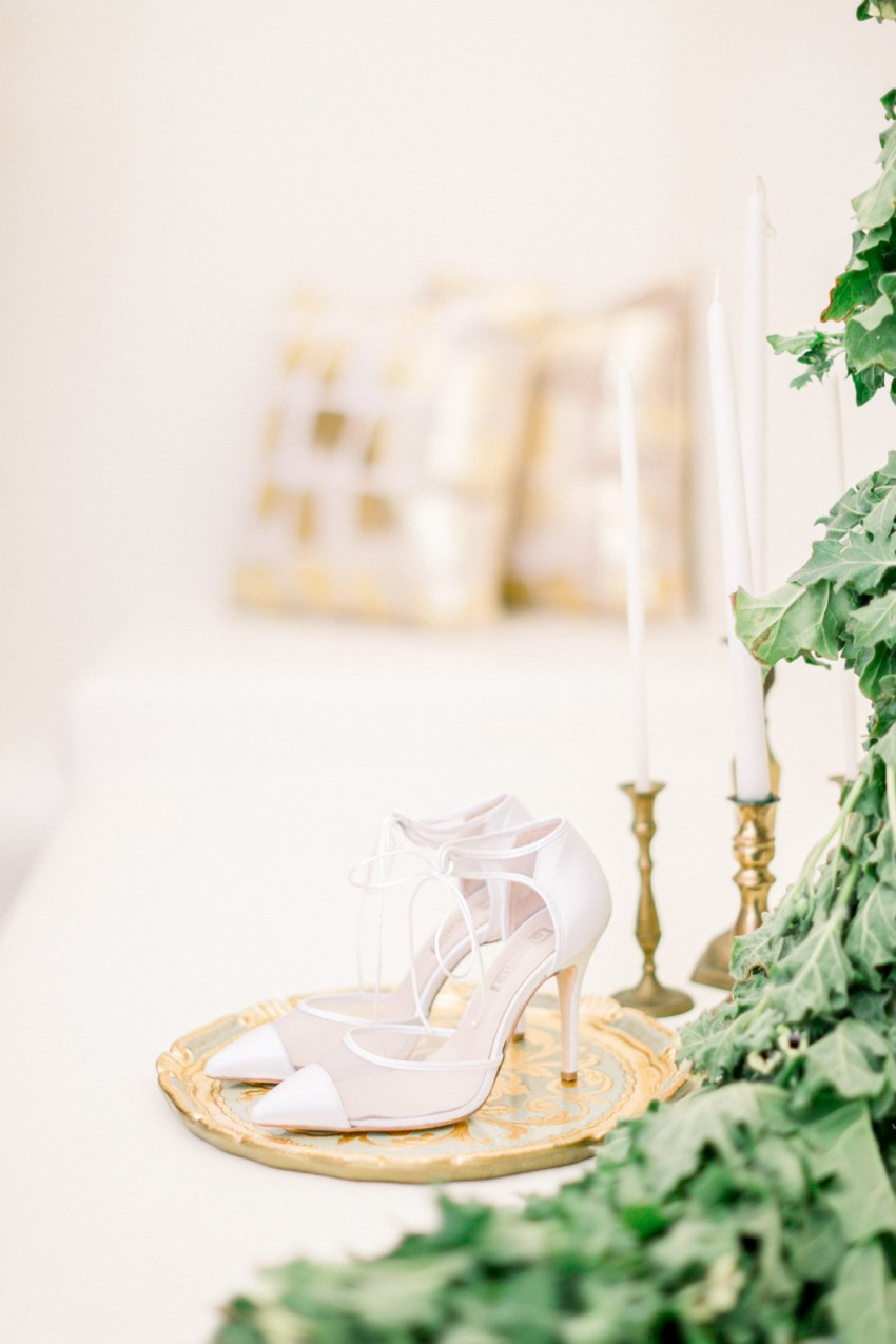 Elegant bridal shoes by Sideris for boudoir session in Loyal Villas Luxury villa in Mykonos.