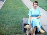 Mary K. Hanneman with dog Cookie in 1958.