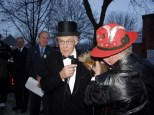 Mayor Dave Hanneman interviews Jimmy the Groundhog on Groundhog Day. (Sun Prairie Star Photo)