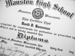 The diploma David D. Hanneman received from Mauston High School in May 1951.
