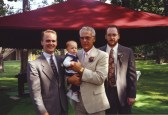 August 1992 with grandson Stevie and sons David (left) and Joe.