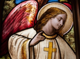 Guardian angel stained glass window.