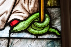 Serpent at the feet of St. Patrick.