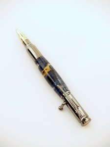 Bolt action pen with blue box elder burl