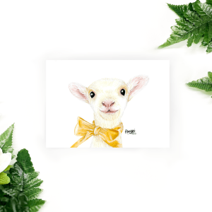 Easter postcard of lamb Susi with yellow bow