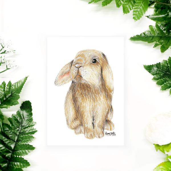 """Ostern Postkarte mit Häschen/Kaninchen """"Pascal"""""""