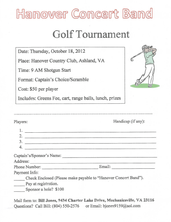 Oct 18th Golf Tournament