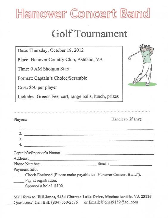 Oct 18th Golf Tournament