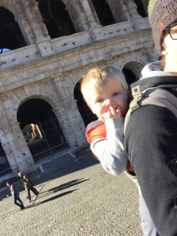 Daddy Toddler Wearing at the Coliseum - pack pony exhibit five