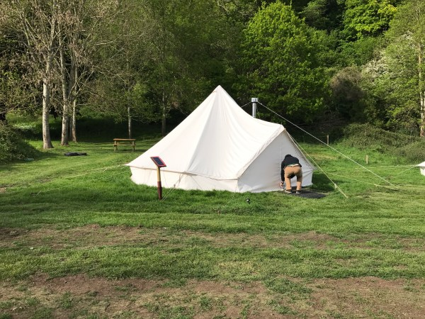 Our Anniversary Accomodation - glamping in a bell tent at YHA Wye Valley