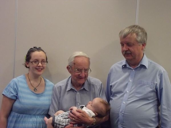 Four generations: Grandad, Dad, Jaxon and I at Jaxon's Dedication