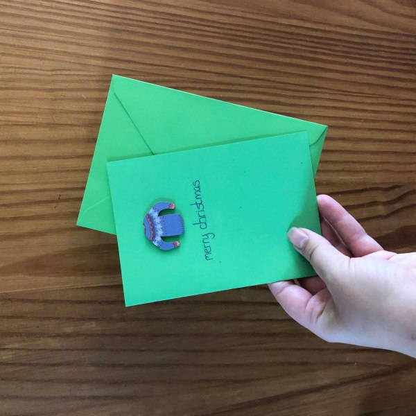 Green Christmas Card with blue jumper