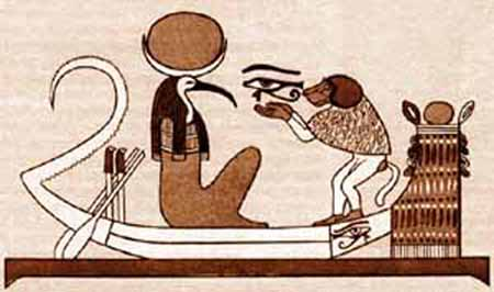 Thoth and the Human represented by the Ape. The Ape uses the Eye of Horus (the third Eye) to look at Thoth