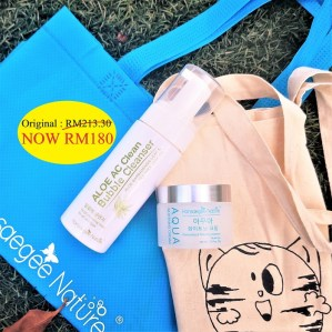 1. Combo Set = Cleanser + Aqua (FREE Recycle Bag + Cotton Bag)