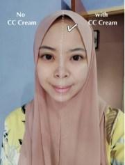 perbezaan sebelum pakai CC Cream
