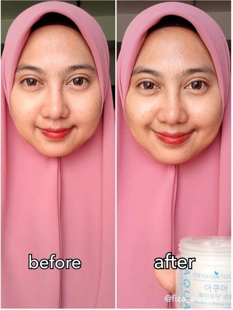 Testimoni Sebelum and Selepas Pakai Aqua Whitening Cream