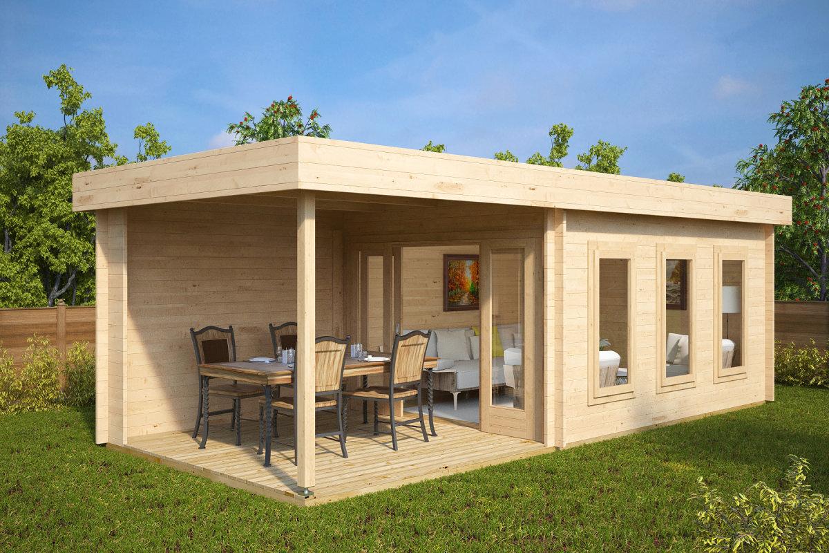 Modernes Gartenhaus Mit Terrasse Jacob E 12m²  44mm  3x7