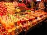 fresh fruit drinks on ice at la boqueria market