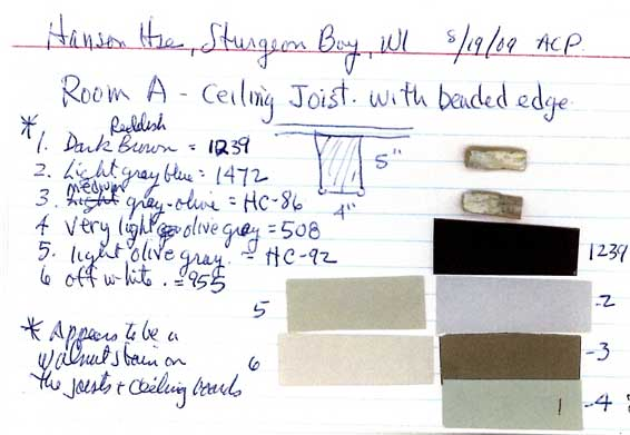 Color Sample for Room A.Picture from The Historical, Architectural Analysis, And Restoration Plan for the Hans Hanson House, 15 Dec 2009 Prepared by Alan Pape for The Door County Historical Society.