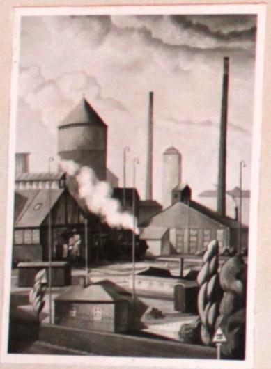 Bahngelände II, Blick vom Museum aus, 68/83 cm, 1956
