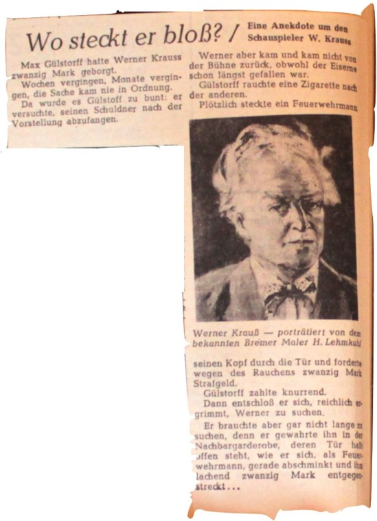 © Zeitung unbekannt, 1954, Wo steckt er bloß?, Autor ohne Angabe, Bild ohne Angabe.