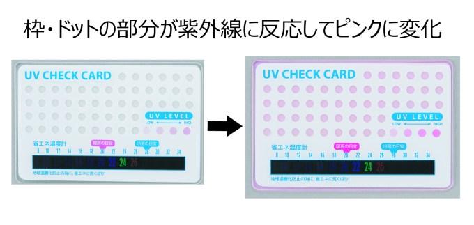 UVチェック省エネカード色変化
