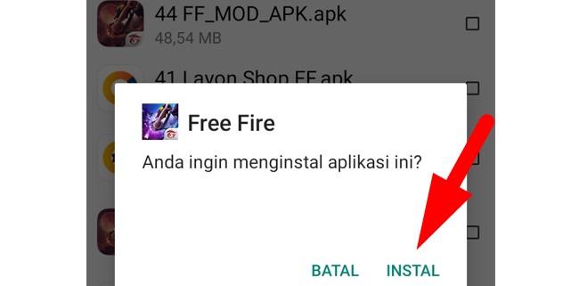 Cara Instal Free Fire FF Mod Apk Unlimited Diamond Anti Banned
