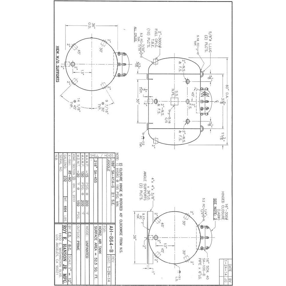 ASME Pressure Vessels, ASME air receivers AH-864-B