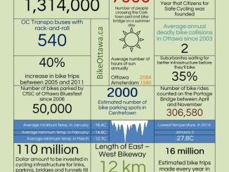 An infographic with data on Cycling in Ottawa