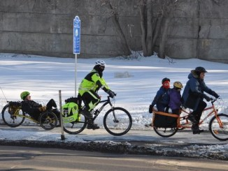 A recumbent, a Paramedic and an Xtracycle. This is Ottawa in winter nowadays.....