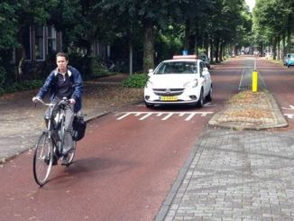 A bike street in Utrecht, Netherlands running along the Rietveldhuis.
