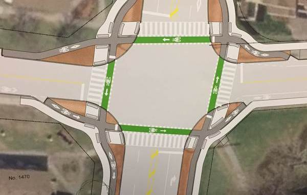 Dutch style intersection with separate bike tracks in green