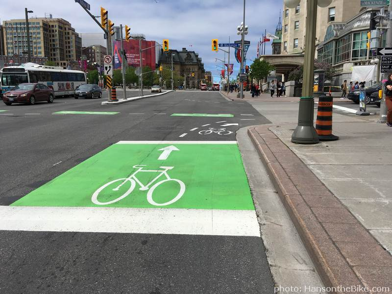 The new bike box on Rideau St.