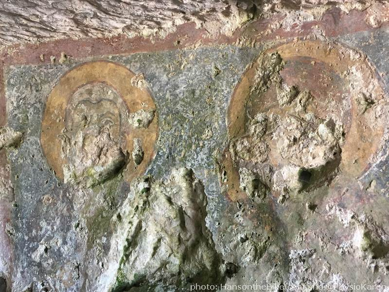 Faint Christian paintings in what is thought to be an early 'church'.