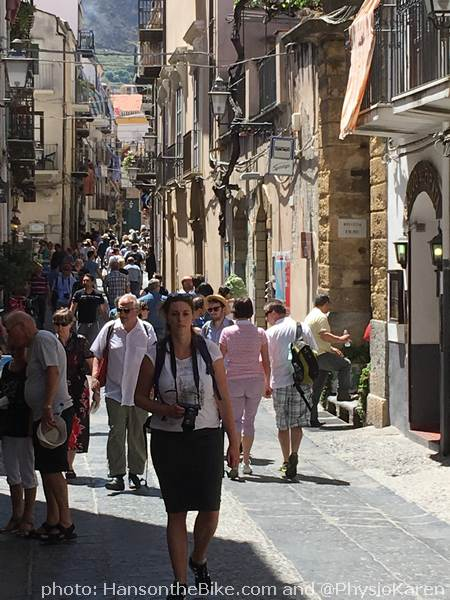 Car free shopping and dining in Cefalu's main street