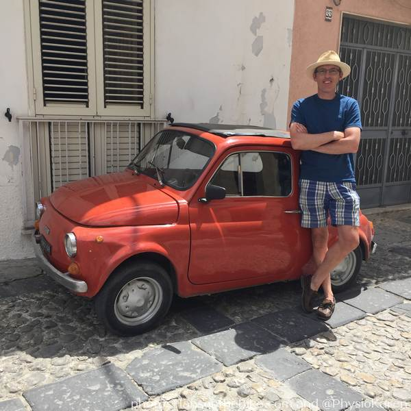 To give you a sense of proportion, me and a Fiat 500.