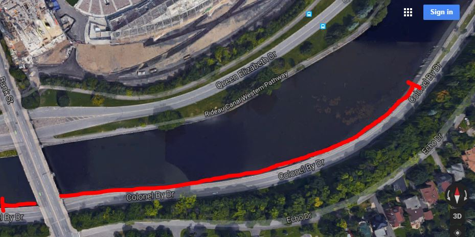 Google Screen grab , Colonel By east of Bank Street bridge