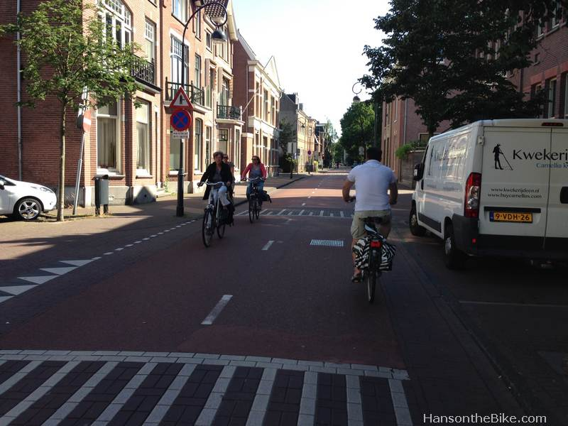 Bicycle Street in Haarlem, Netherlands. Note that the cyclists stay off the rabat strips