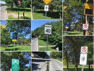 A collage of 8 photos of traffic signs on Fairmont on a 150 meter strip