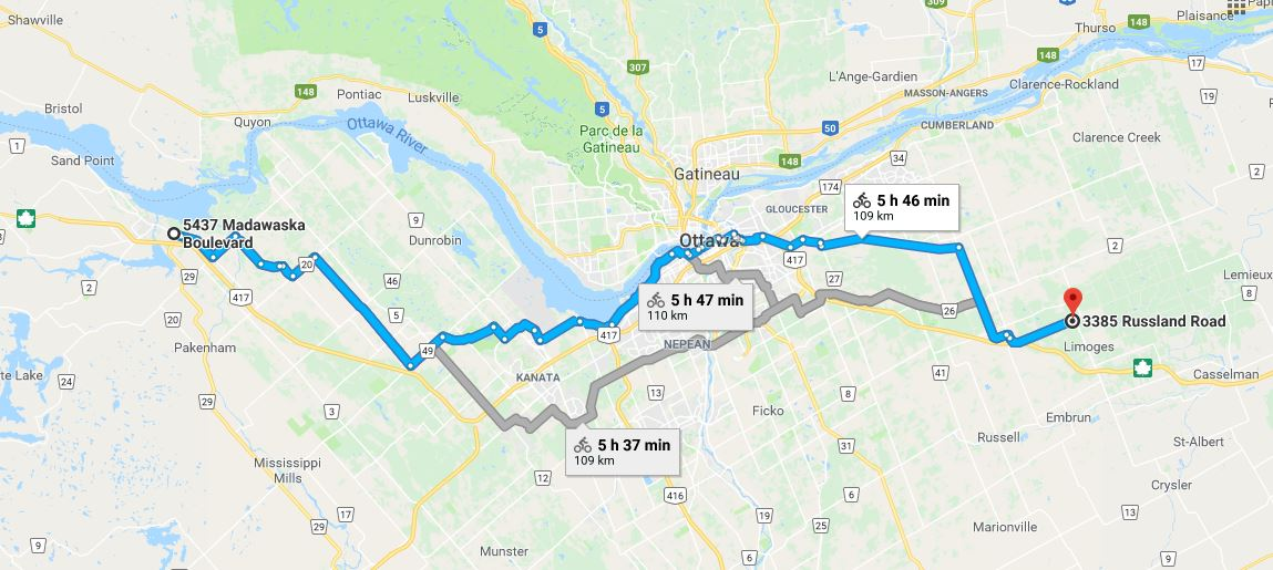 Cycling East to West in Ottawa