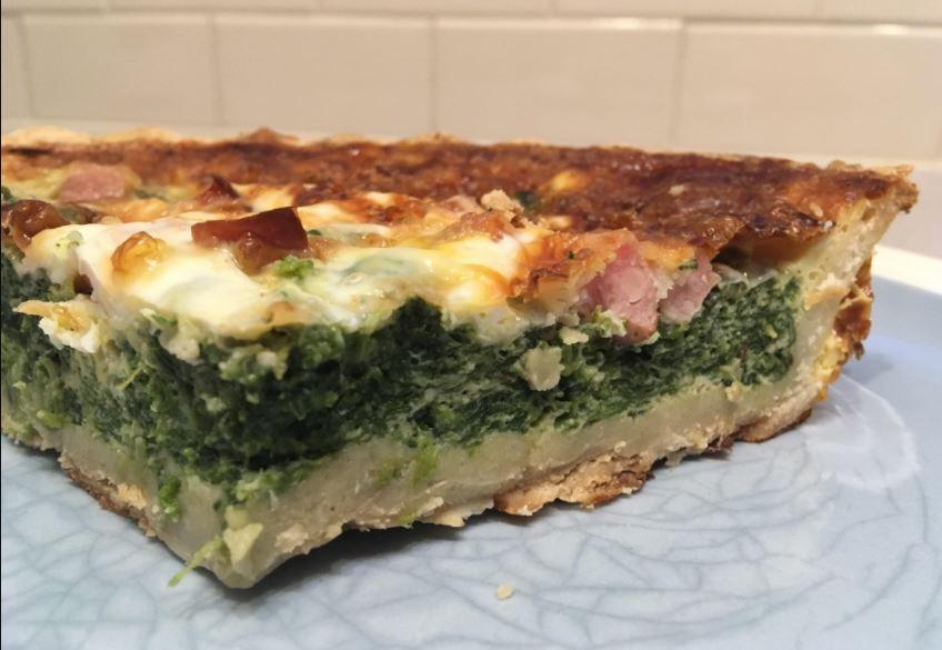 Slice of spinach pie