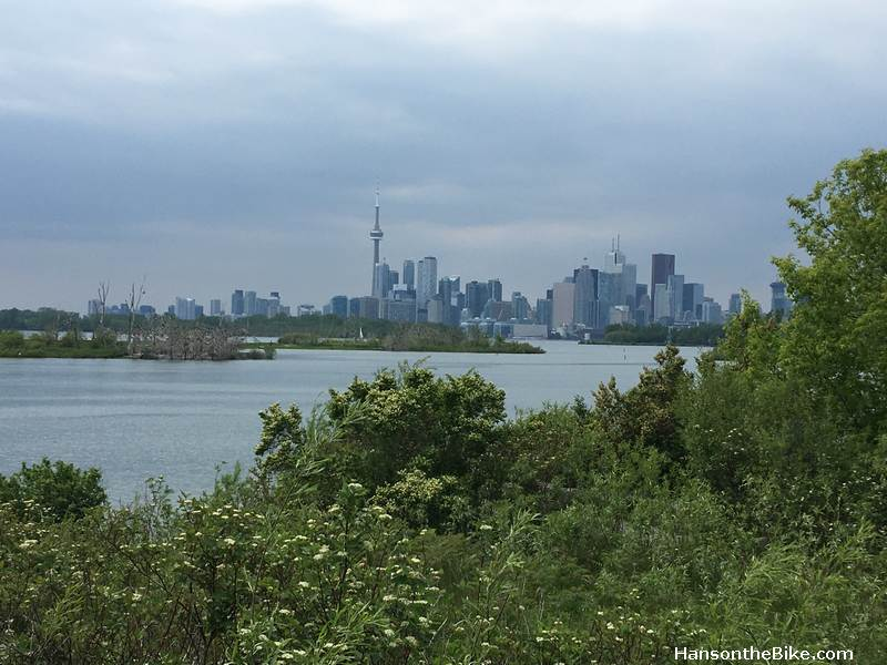View from the Lesley Street Spit towards downtown Toronto