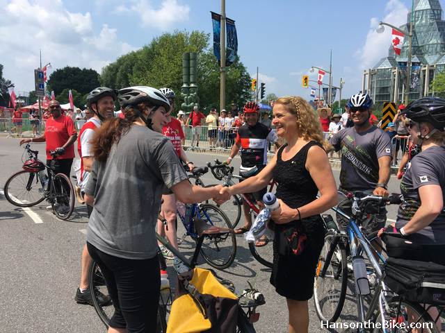 Scientist meets scientist: Bike Ottawa President Heather Shearer greets Governor General Julie Payette