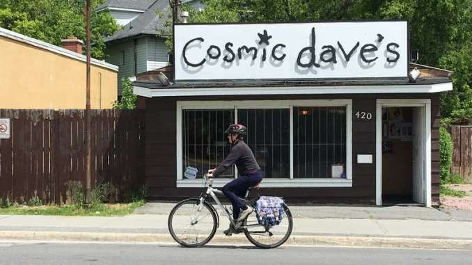 Passing Cosmic dave's record store