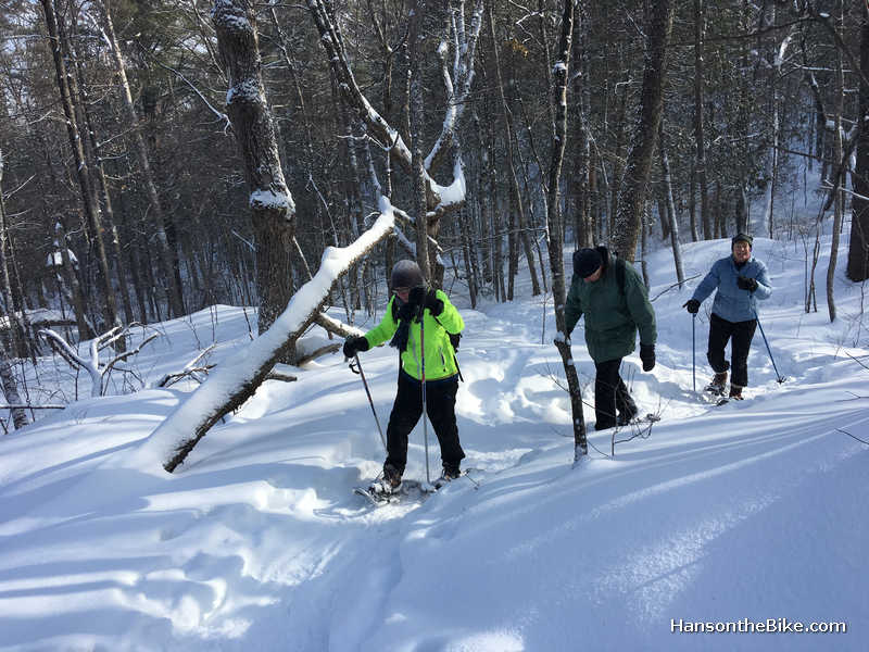 Although the snow was packed, walking with snow shoes is still not a bad idea because of the crampons underneath the snow shoes.