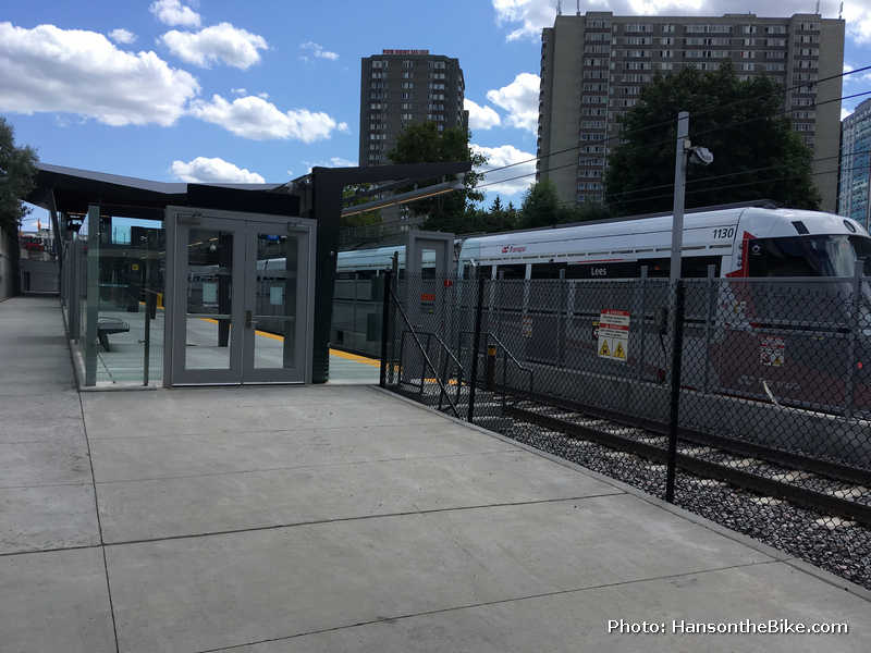 I foresee a bit of a conflict zone here, with pedestrians leaving through this door checking their cell phones, so you may want to slow down considerably if there is a train in the station. The path goes on the left of the metal supports