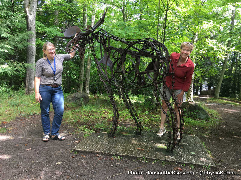Moose built from vintage farm objects at Haliburton sculpture gardens