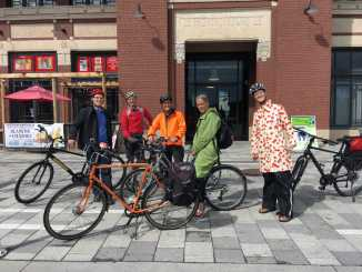 Group of cyclists at Lansdowne Park