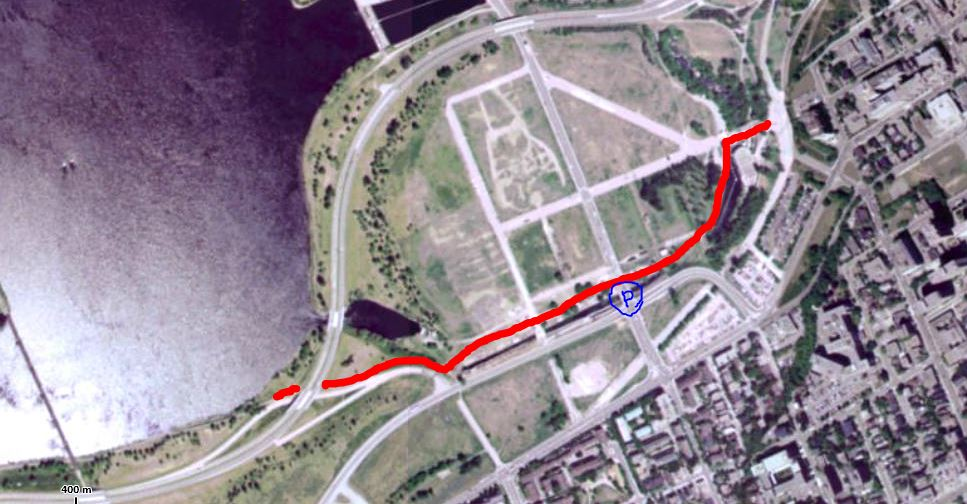 Red route was the former pathway, blue P is current Pimisi Station