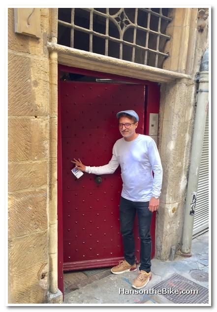 Closing the door of one of the hidden alleyways